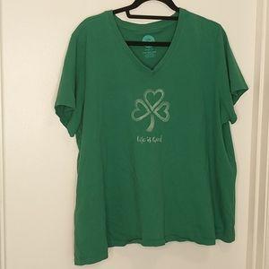 Life is good green shamrock crusher t-shirt